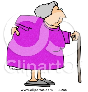 5266-obese-elderly-woman-walking-on-a-cane-with-a-painful-back-clipart