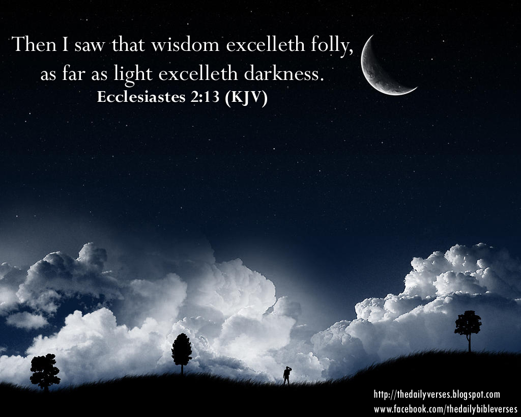 Image result for Wisdom excelleth folly as far as light excelleth darkness